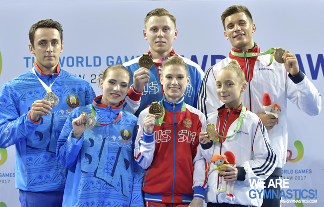The Acrobatic Mixed Pairs podium at The World Games 2017: Belarus, Russia and Great Britain.