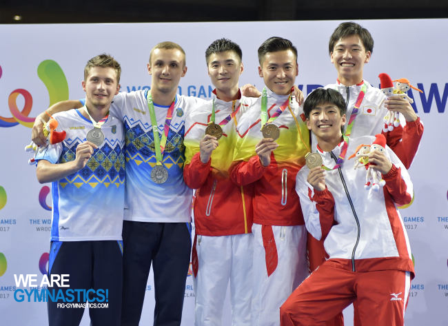 The Men's Synchronised Trampoline podium at The World Games: Ukraine, China and Japan.
