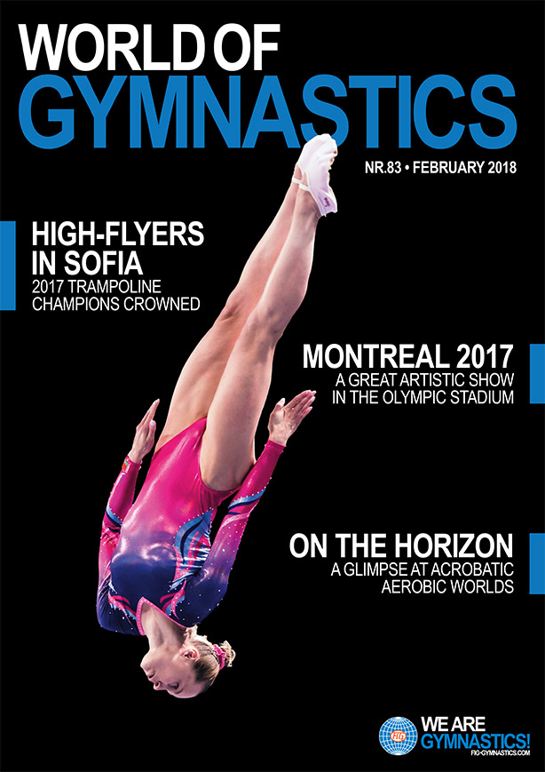 2017 Individual Trampoline World champion Tatsiana Piatrenia (BLR) flies high on the cover of the latest World of Gymnastics magazine.